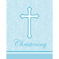 Faith Blue Christening Invitations