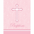 Faith Pink Baptism Invitations