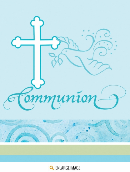 Faithful Dove Blue Invitations Fill In Communion