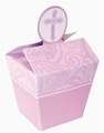 Favor Pails With Cross Pink
