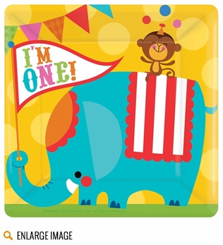 The Fisher Price 1st Birthday Circus theme features bright and multi-colored characters from the circus including a mustached tiger ringmaster, sweet lion, playful seal, adorable elephant and cuddly monkey.