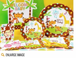 Shop our Fisher Price party supplies and decorations for your baby shower at great discounts, based on the Fisher Price Rainforest design.