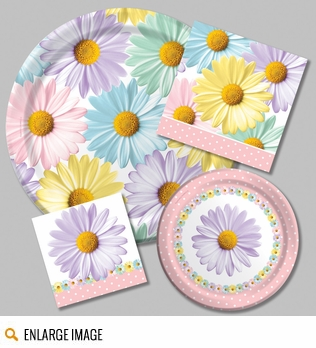 Fresh Daisies Party Supplies featuring daisy blooms in pastel colors of pink, purple, blue and yellow.