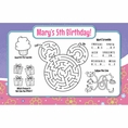 Girl Mouse Custom Birthday Activity Placemats