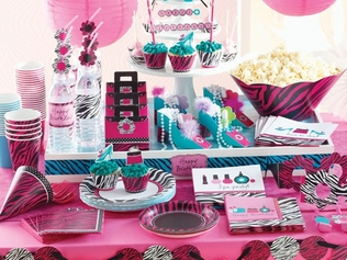 Our popular Pink Zebra Boutique girls birthday party theme! Perfect for a girly slumber party or spa party.