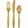 Glittering Gold Assorted Plastic Cutlery 24 Count