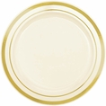 Gold Rimmed Ivory Plastic Appetizer Plates