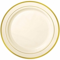 Gold Rimmed Ivory Plastic Cake Plates