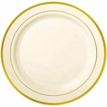 Gold Rimmed Ivory Plastic Plates