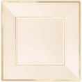 Gold Rimmed Ivory Square Plastic Cake Plates