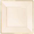 Gold Rimmed Ivory Square Plastic Plates