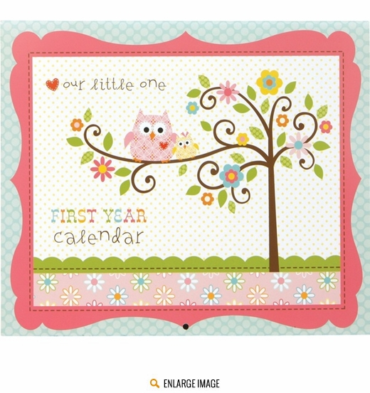 Pink, blue, and green Happi Tree Babys 1st Year Calendar Keepsake sold individually