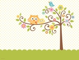 Happi Tree Owl Baby Shower Decorative Tablecover