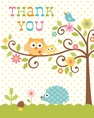 Happi Tree Owl Baby Shower Thank You Cards