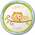 Happi Tree Boy Owl Baby Shower Dessert Plates