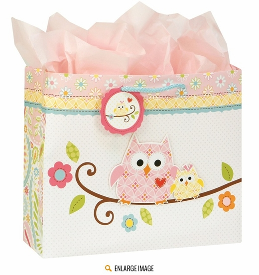 Pink, blue, and green Happi Tree Gift Bag with Handles sold individually