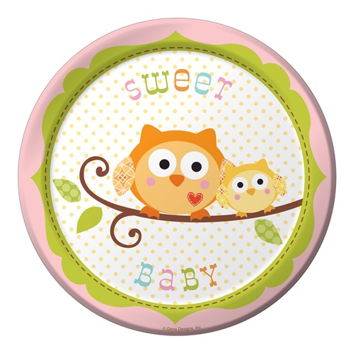 Happi Tree Girl Owl Baby Shower Dessert Plates
