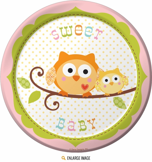 "Pink and white Happi Tree 7"" Dessert Plates"