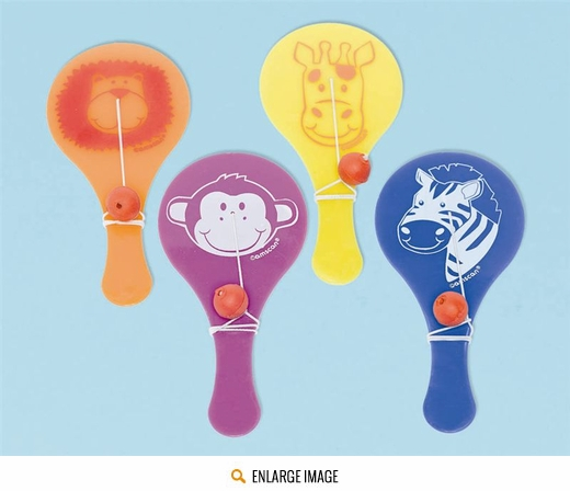 Jungle animals paddle ball favors 3 each of 4 different designs