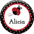 Ladybug Fancy 1st Birthday Custom Button