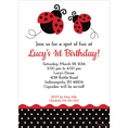 Ladybug Fancy 1st Birthday Custom Invitation