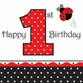Ladybug Fancy Luncheon Napkins - 1st Birthday