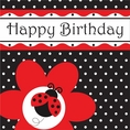 Ladybug Fancy Luncheon Napkins - Happy Birthday