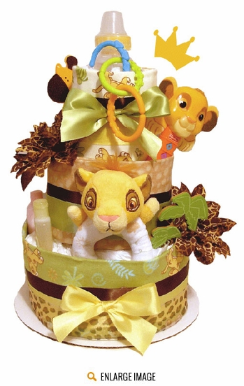 This Lion King Diaper Cake comes in a 3 tier design and features a plush baby Simba toy, Simba rattle and Disney Lion King receiving blankets.