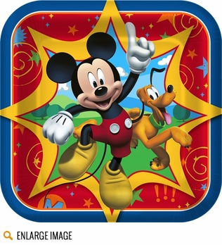 Blue, red, yellow, and green Mickey Mouse Clubhouse party decorations for your little boys birthday party.