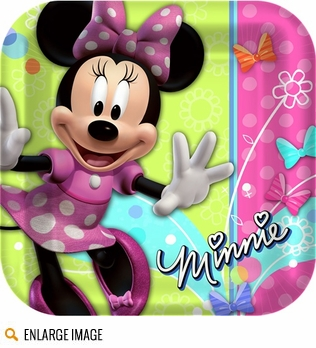 Pink, periwinkle, and leaf green Minnie Mouse Bow-tique Clubhouse party decorations for your little girls birthday party.