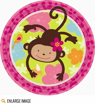 Pink and brown Monkey Love Baby Shower Decorations are too cute!