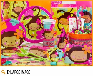 Pink and brown Monkey Love Birthday Party Supplies with an extensive live of party favors.