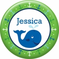 Ocean Preppy Blue Whale Baby Shower Custom Button