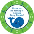 Ocean Preppy Blue Whale Baby Shower Custom Stickers