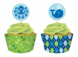Ocean Preppy Boy Cupcake Wrappers and Picks