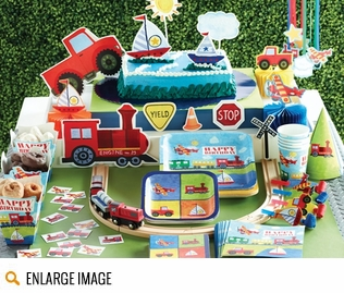 Bold colors of red, blue, yellow and green make these Planes, Trains and Automobiles Party Supplies come to life!
