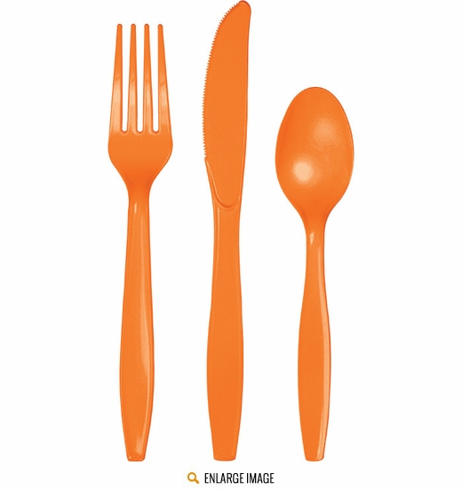 Orange Cutlery - 24 pieces is sold 24 assorted pieces per package.