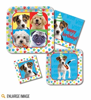 Paw-ty Time! Dog Birthday Party Supplies featuring red, blue and yellow paw prints and cute puppy images.