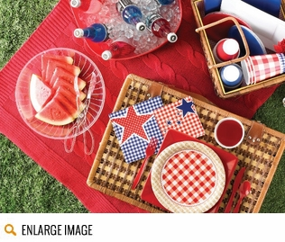 Picnic Basket Party Supplies featuring a wicker basket pattern along with polka dots, stars and red and blue gingham.