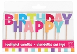 Pink and Purple Birthday Tooth Pick Candle Set