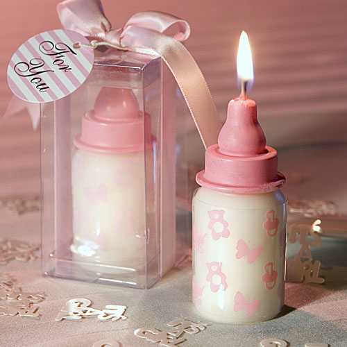 Pink Baby Bottle Candles