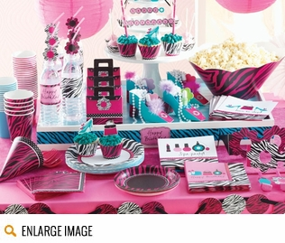 Hot magenta, teal and pink along with images of beauty items make the Pink Zebra Boutique Party Supplies a great choice for any spa party or sleepover birthday!