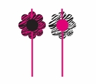 Pink Zebra Boutique Straws with Attachments