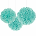 Robin's Egg Blue Pom Pom Tissue Decorations