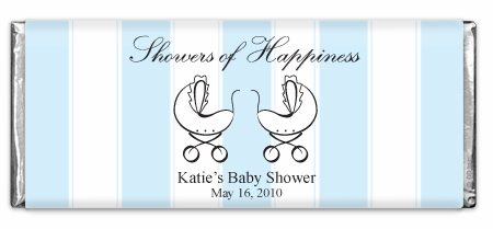 Showers Of Happiness Stripes Blue Twins Chocolate Bar