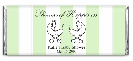 Showers Of Happiness Stripes Green Twins Chocolate Bar