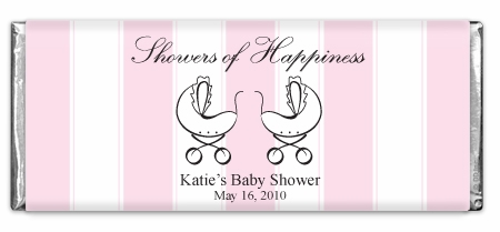 Showers Of Happiness Stripes Pink Twins Chocolate Bar