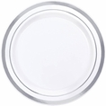 Silver Rimmed White Plastic Appetizer Plates