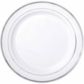 Silver Rimmed White Plastic Cake Plates