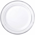 Silver Rimmed White Plastic Plates